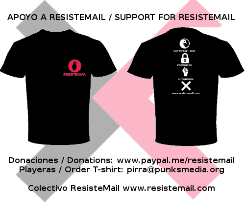 Playeras en apoyo a Resistemail Image